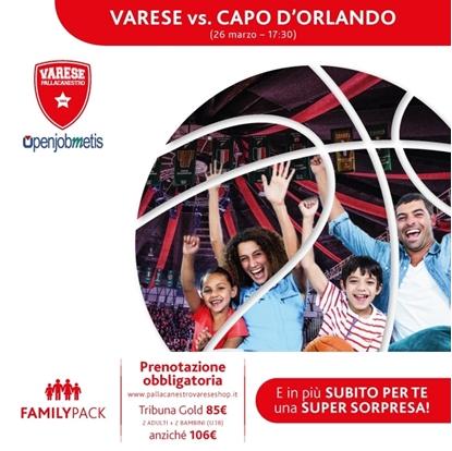 Immagine di FAMILY PACK: Openjobmetis Varese vs Betaland Capo d'Orlando - 26 marzo 2017 ore 17:30